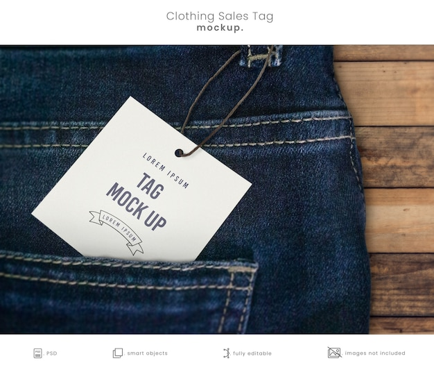 Close up clothes tag mockup on jeans