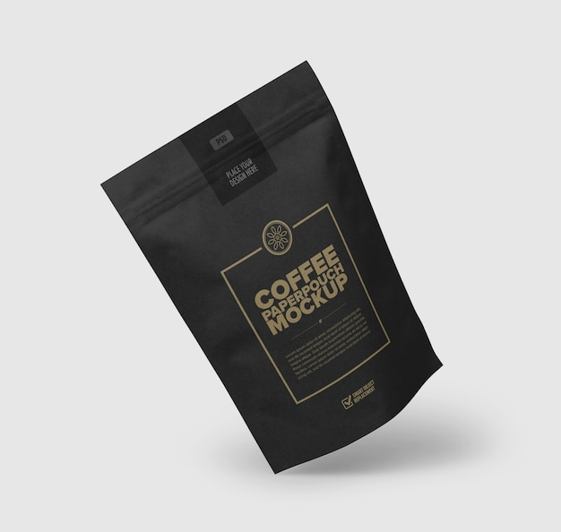 Close up on coffee bag mockup isolated