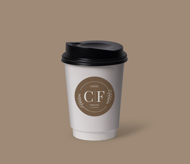 Close up on coffee cup mockup