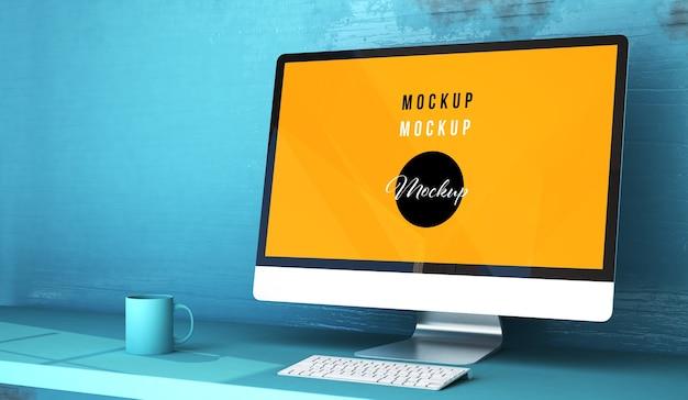 Close up on computer desktop mockup