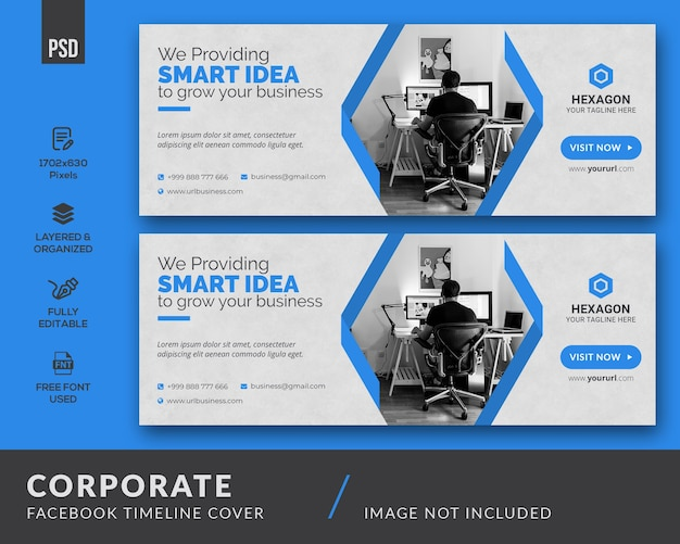 Close up on corporate facebook cover