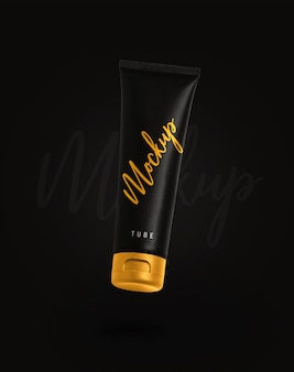 Close up on cosmetic tube mockup isolated