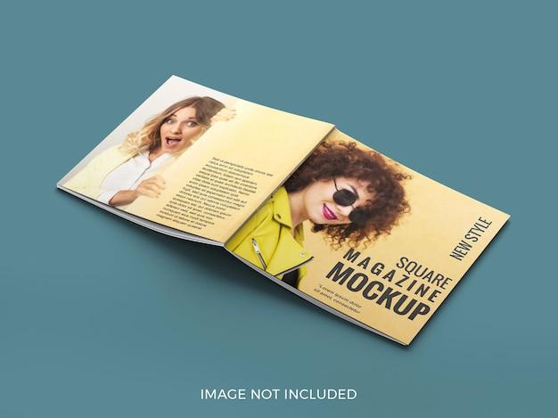 表紙の正方形の雑誌のモックアップを閉じる