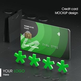 Close up on credit card mockup design
