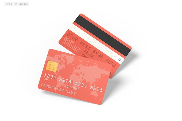 Close up on credit card mockup isolated