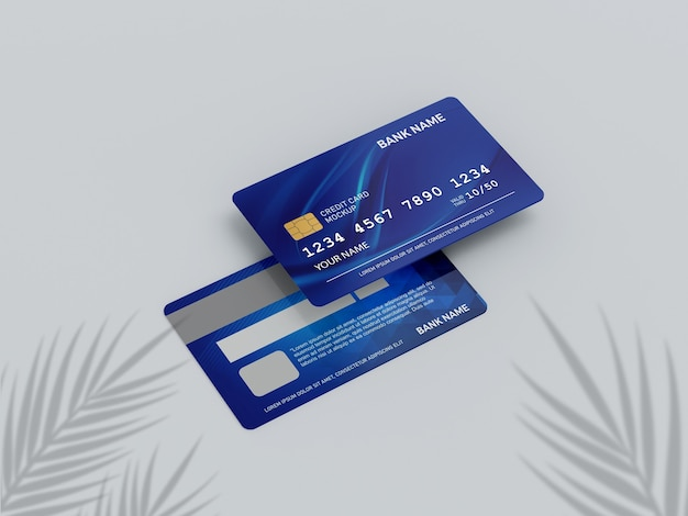 Close up on credit card mockup