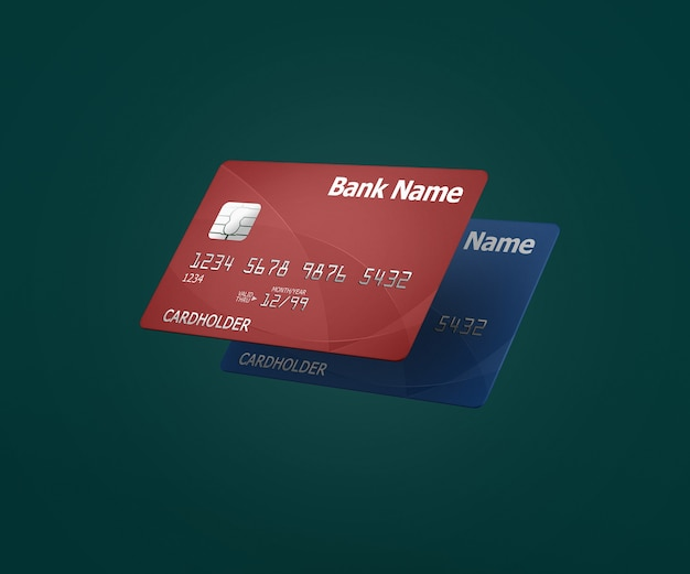 Close up on credit cards mockup