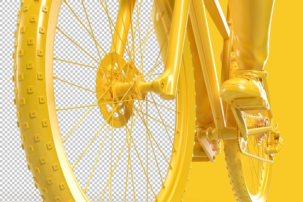 Close up of a cyclist riding a bicycle in 3d rendering