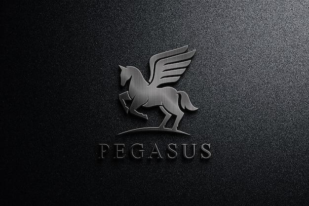 Close up dark metal logo mockup
