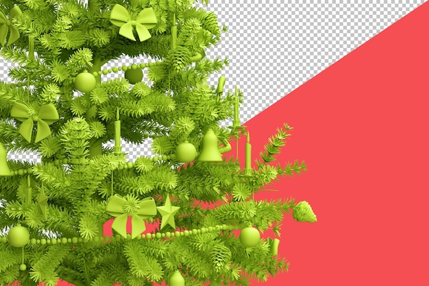 Close up of decorated christmas tree isolated