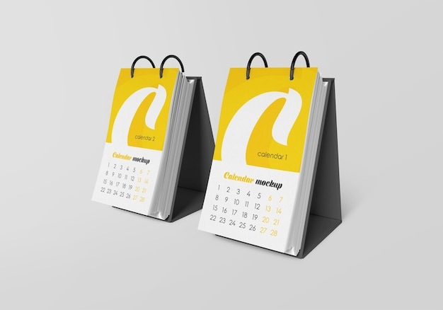 Close up on desk calendar mockup isolated