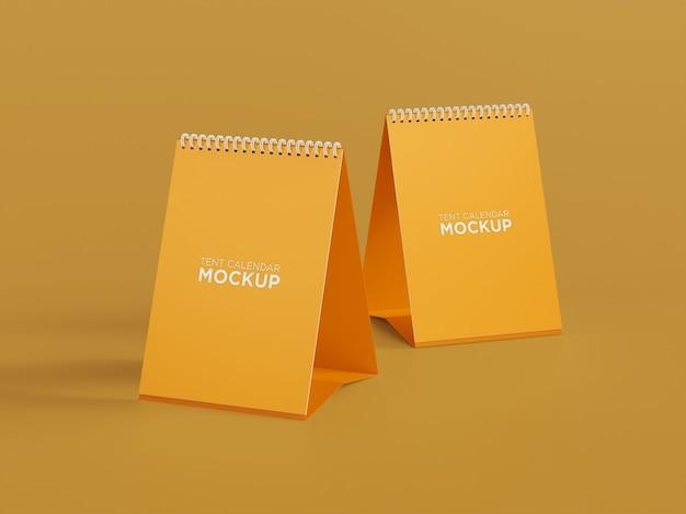 Close up on desk tent calendar mockup design