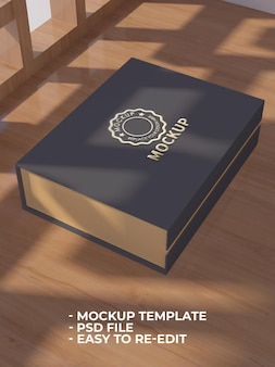 Close up on dictionary mockup with gold color logo