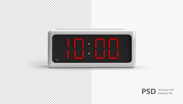 Close up on digital clock isolated