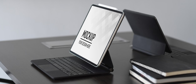 Close up on digital tablets and notebooks mockup