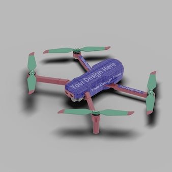 Close up on drone mockup isolated