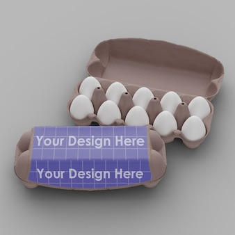 Close up on egg container mockup isolated