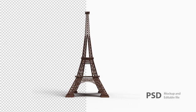 Close up on a eiffel tower rendering isolated