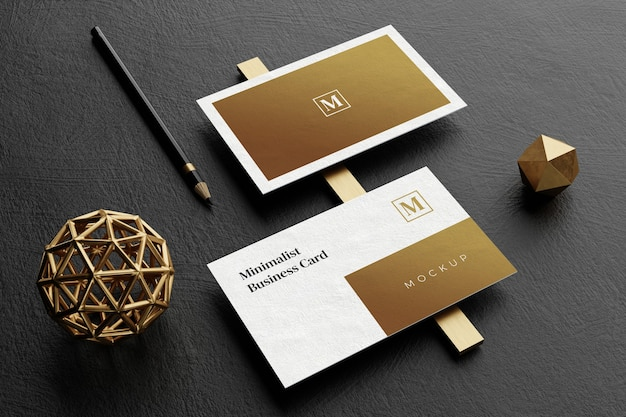 Close up on elegant business card mockup