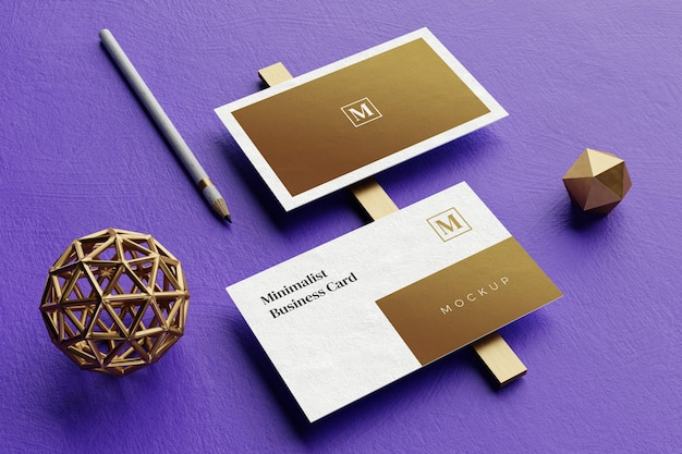 Close up on elegant business card mockup