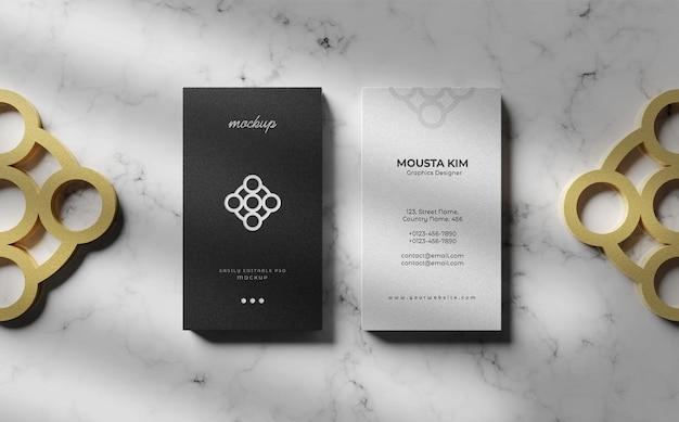 Close up on elegant vertical business card mockup
