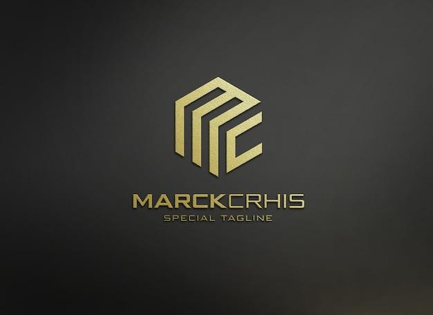 Макет тисненого логотипа крупным планом