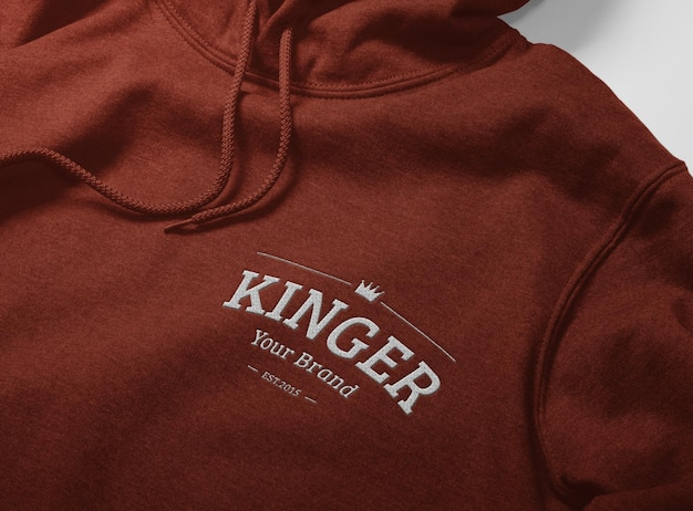 Close up embroidery logo of hoodie mockup design