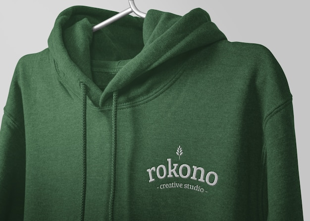 Close up embroidery logo of hoodie mockup isolated