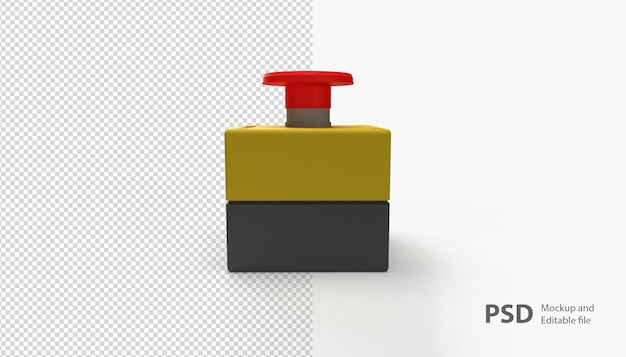 Close up on emergency button isolated