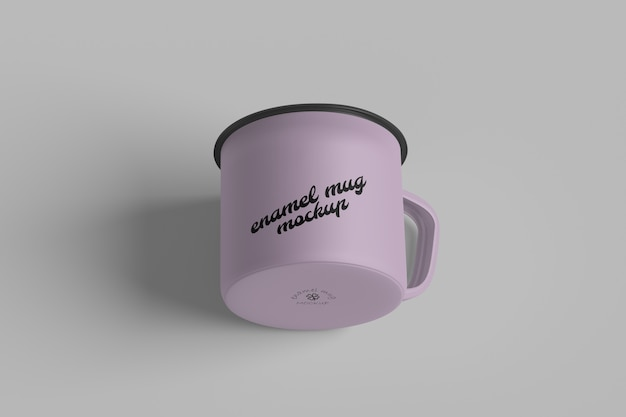 Close up on enamel mug mockup isolated