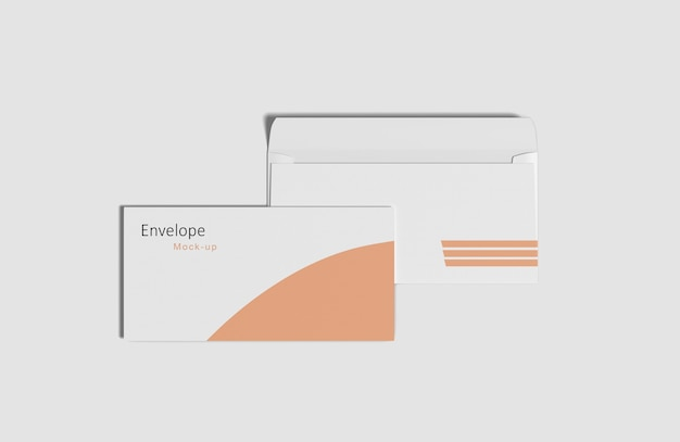 Close up on envelope mockup isolated