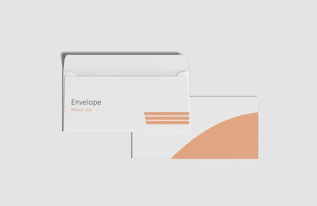 Close up on envelope mockup isolated