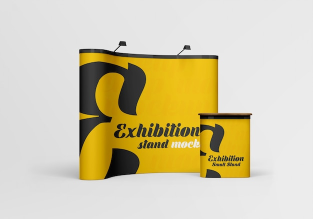 Close up on exhibition stands mockup