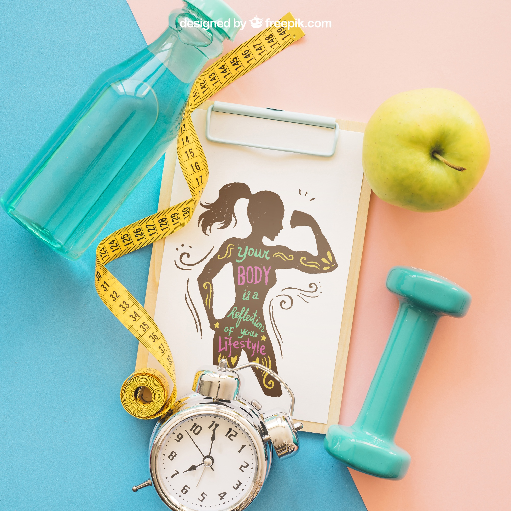 Close up fitness mockup with clipboard