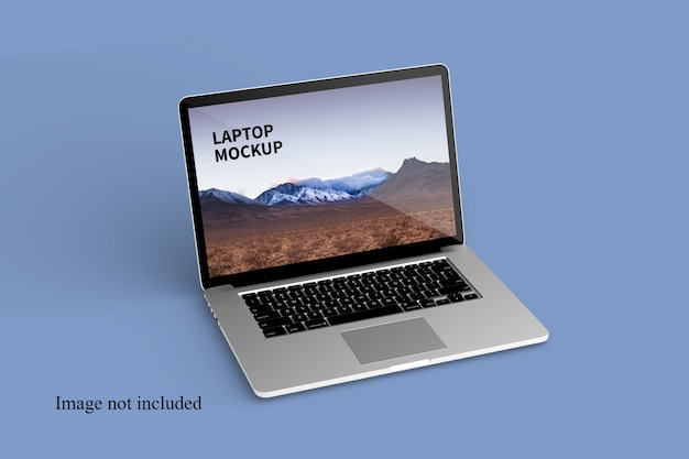 Close up on floating laptop mockup