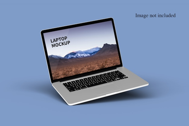Close up on floating laptop mockup