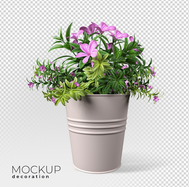 Close up on flower in pot interior 3d mockup