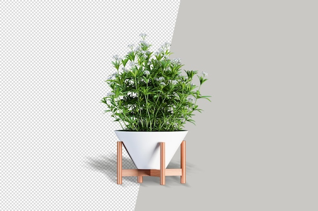 Close up on flowers in pot interior 3d mockup