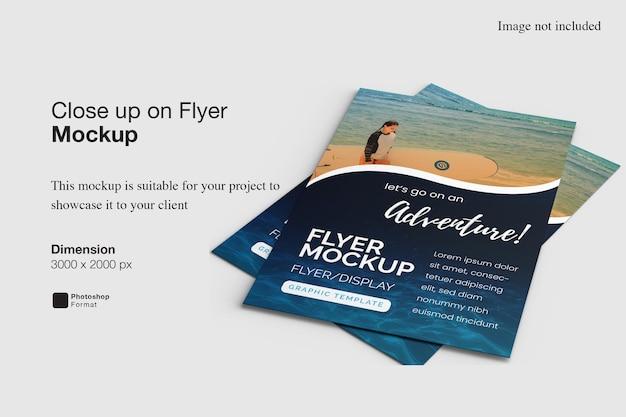 Close up on flyer mockup design rendering
