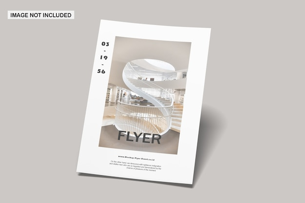Close up on flyer mockup isolated