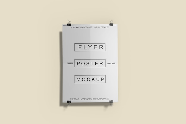 Close up on flyer poster mockup isolated