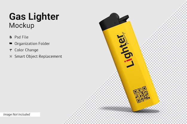 Close up on gas lighter mockup isolated