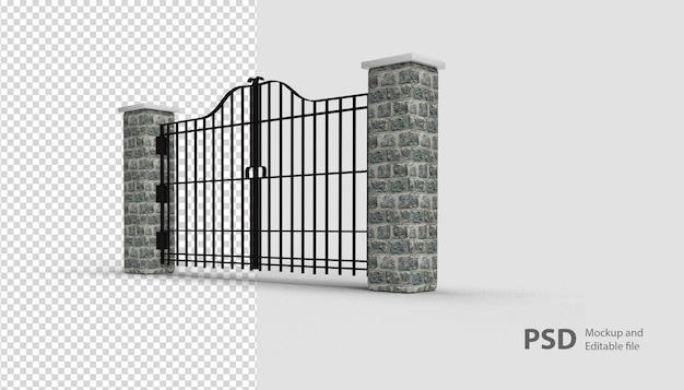 Close up on gate in 3d rendering isolated