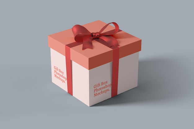 Close up on gift box mockup perspective view