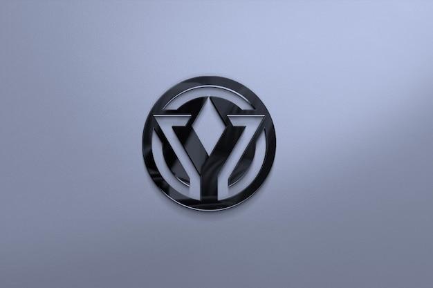 Close up on glass logo mockup on empty surface