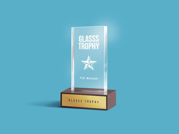 Close up on glass trophy mockup