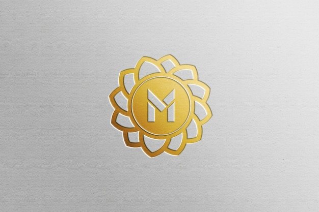 Close up on gold foil logo mockup isolated