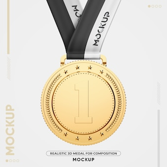 Close up on gold medal mockup isolated