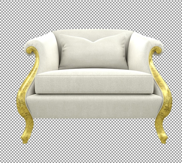 Close up on gold sofa rendering isolated white cloth front