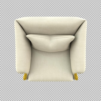 Close up on gold sofa rendering isolated white cloth top view